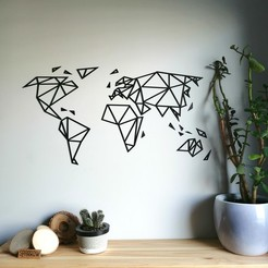 3D printer models Geometric world map - wall decor, eliza_sparrow