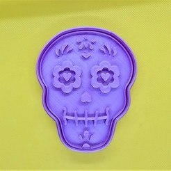 Craneo.jpeg Download STL file Day of the Dead Halloween Cookie cutter • 3D print template, Platridi