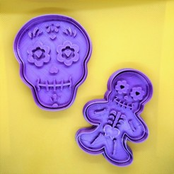 Esqueleto.jpeg Download STL file Day of the Dead Halloween Cookie Cutter Set • 3D print template, Platridi
