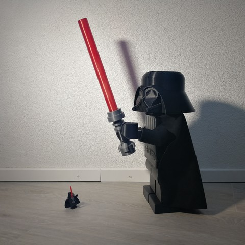 Giant 3D printed Lego Star Wars Darth Vader minifigure with light saber