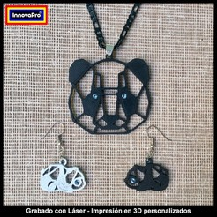 Download 3D printer model Panda Earrings and Pendant Set, InnovaPro