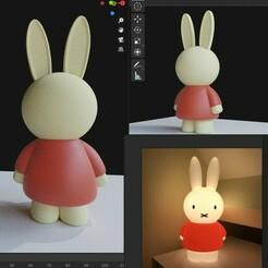 1.jpg Download STL file miffy night light, Rabbit lamp • 3D printing design, c3sierra
