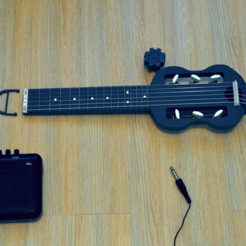 Free 3D printer designs Mini electric guitar for travel., CrocodileGene3d