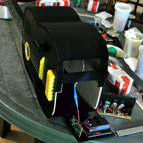 10.png Download free STL file Guitar with built in Amp and Speaker • 3D printable model, CrocodileGene3d