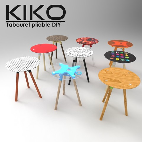 TABOURET.7.jpg Download free STL file KIKO ! Foldable stool with three legs customizable at the inifini // IN UPGRADE IN PROGRESS DO NOT DOWNLOAD • Object to 3D print, NerioBaus