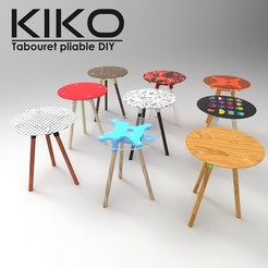 Free STL files KIKO ! Foldable stool with three legs customizable at the inifini // IN UPGRADE IN PROGRESS DO NOT DOWNLOAD, NerioBaus