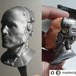 head_printed_001.jpg Download OBJ file ROBOCOP HELMETLESS INSPIRITED BUST 3D  • 3D print template, Masterclip