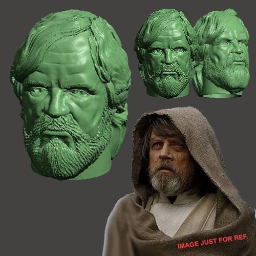 LUKE_HEAD_000.jpg Download STL file LAST JEDI OLD LUKE HEAD FOR FIGURES V1 • 3D printing object, Masterclip