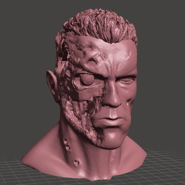 T-800_001.jpg Download free STL file ARNOLD T2 STYLE BATTLE DAMAGED TERMINATOR INSPIRITED BUST for 3D print  • Object to 3D print, Masterclip
