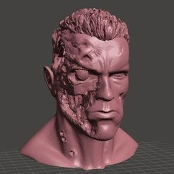 Free 3D printer designs ARNOLD T2 STYLE BATTLE DAMAGED TERMINATOR INSPIRITED BUST for 3D print , Masterclip