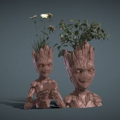 STL file 2 PLANT VASES INSPIRITED IN TEENAGE GROOT, Masterclip