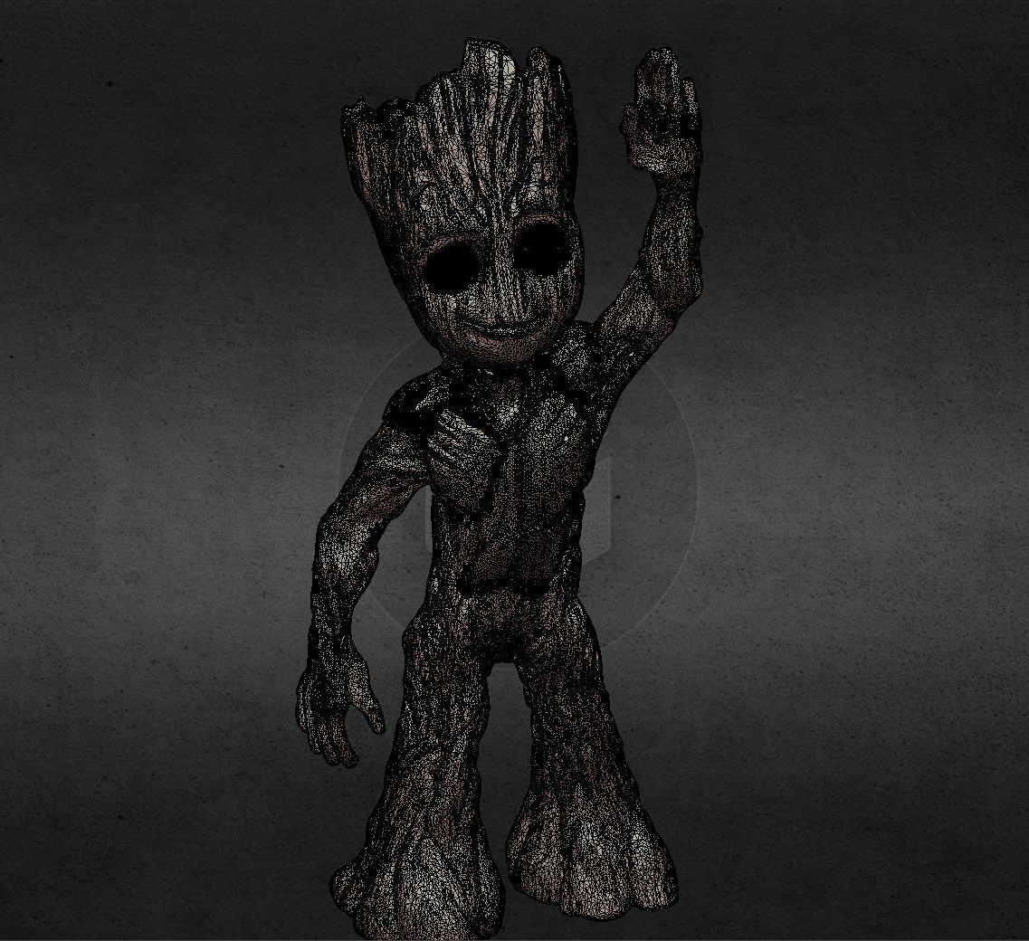 capture_06222017_113416.jpg Download OBJ file LIL BABY GROOT • 3D print template, Masterclip