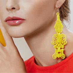 Free 3d model Lace Earrings, fashion3D