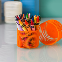 Free 3d printer designs Crayon Holder with Lid, DDDeco