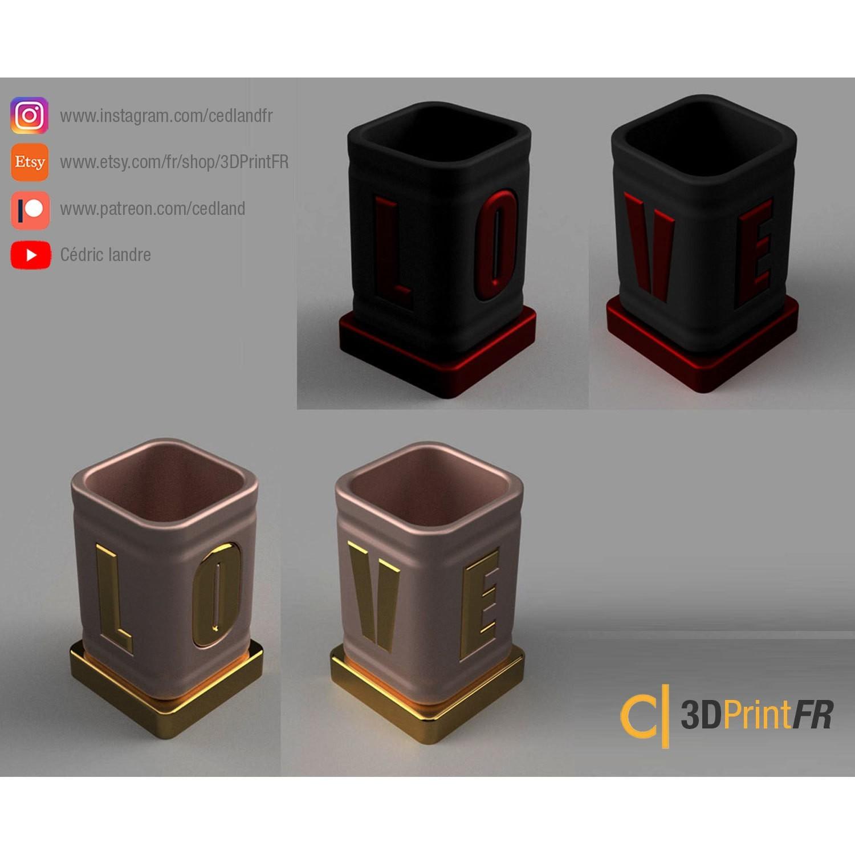 BASE-1200x1200.jpg Télécharger fichier STL gratuit Pot à crayon ou petite boite pour la Saint Valentin ! • Plan pour impression 3D, cedland
