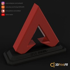Download free 3D printer designs Apex Legends Logo with Stand, cedland
