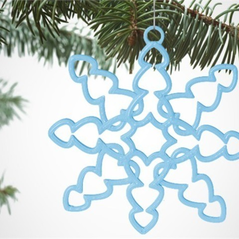 image_UOF1AJRWU2.jpg Download free STL file Tons of Hearts Snowflake Decoration • 3D printer design, D5Toys