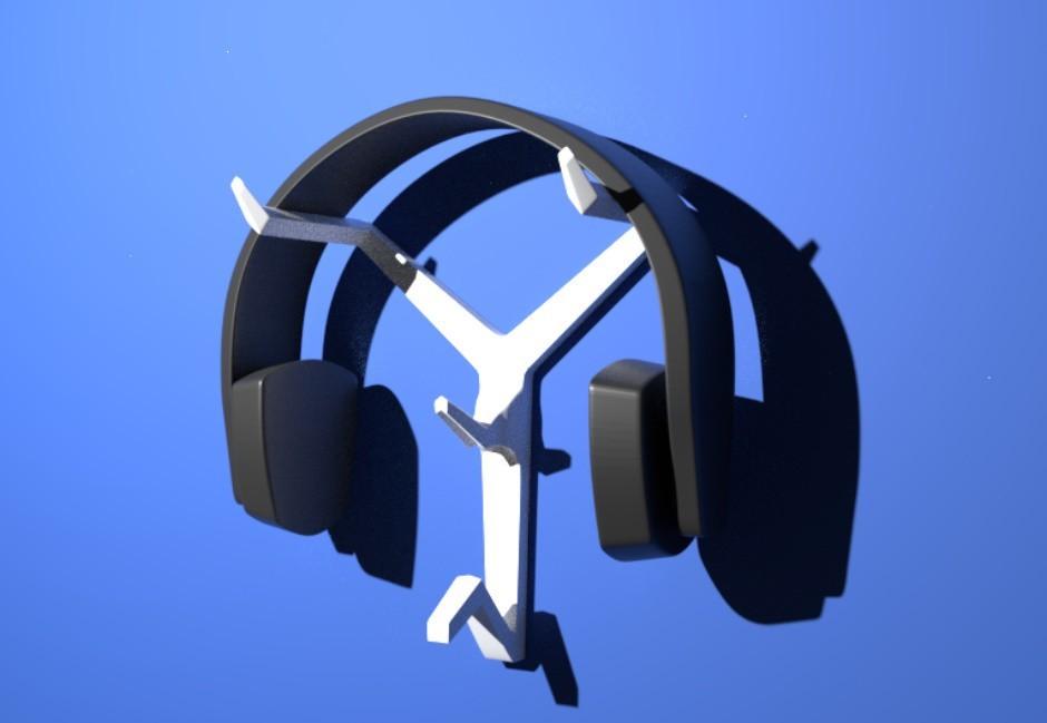 Headphone Stand.jpg Download STL file Wall-Mounted Headphone Stand • 3D print object, MCKillerZ1