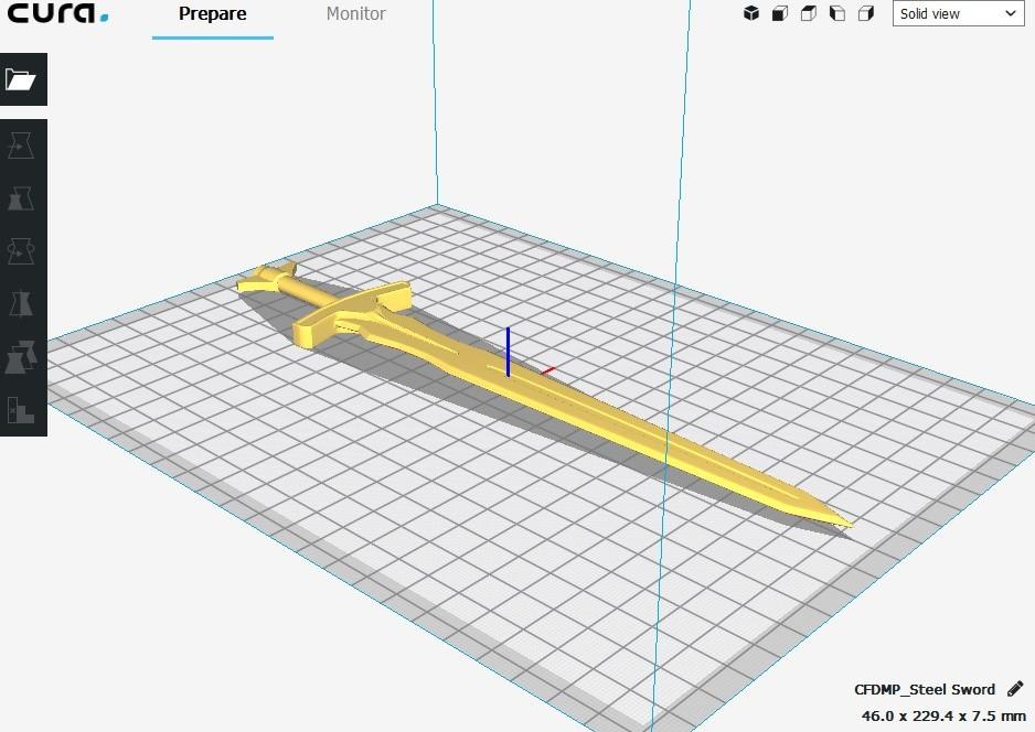 (SS) 2. 3D Printing Top View.jpg Download STL file Steel Sword Deco • Object to 3D print, MCKillerZ1