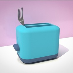 4148e92f83ddc6ba40766f0da6488300_preview_featured.jpg Download OBJ file FORK IN A TOASTER CUTLERY HOLDER • 3D printer design, GrahamIndustries