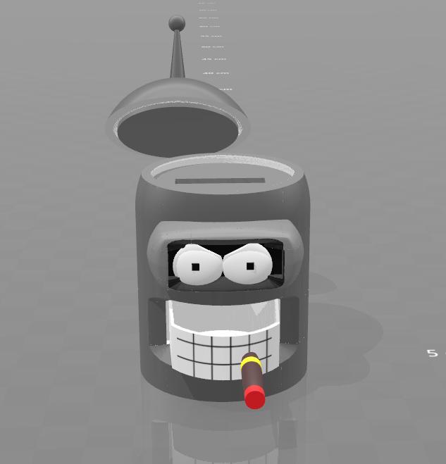 """4.png Download free STL file piggy bank """"Bender"""" • 3D print model, psl"""