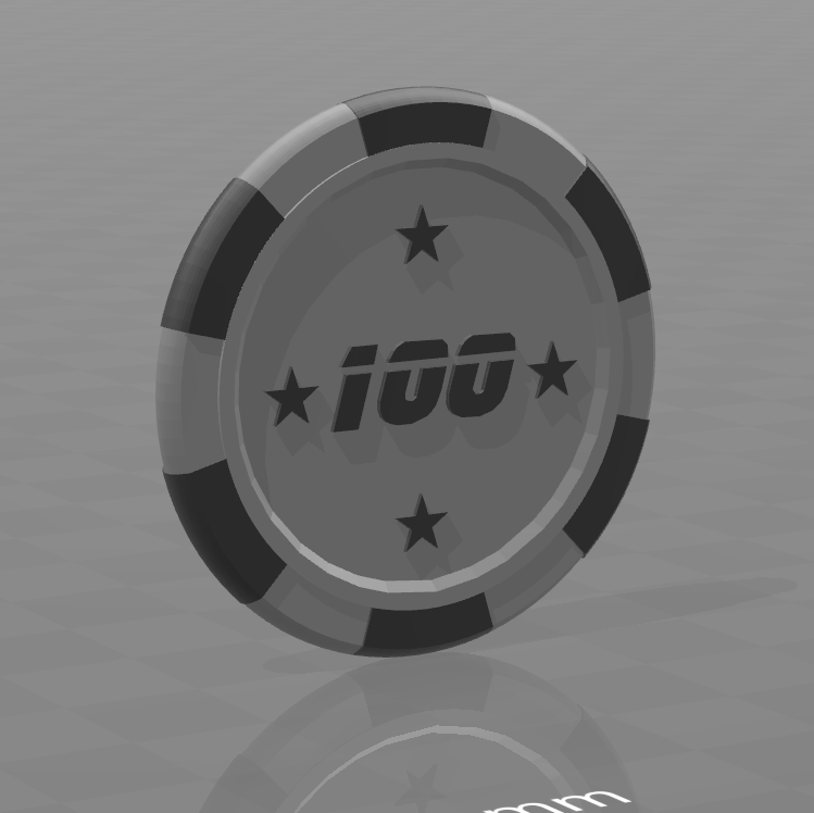 Jeton star 100.png Download free STL file Star poker chips • Template to 3D print, psl