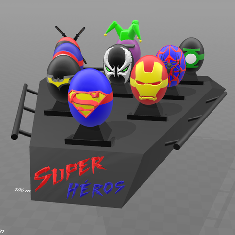 Download free 3D printing templates Super Eggs Collection with base, psl