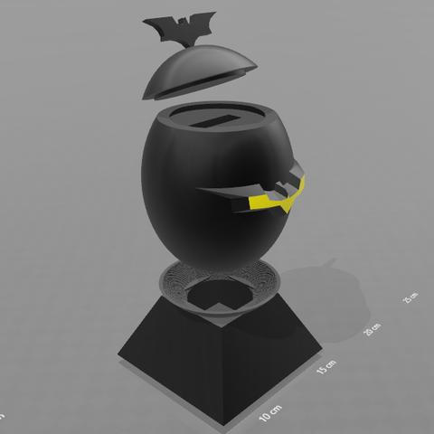 "3.png Download free STL file ""Batman egg"" piggy bank • 3D printing model, psl"