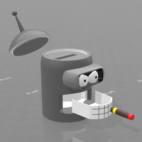 """2.png Download free STL file piggy bank """"Bender"""" • 3D print model, psl"""