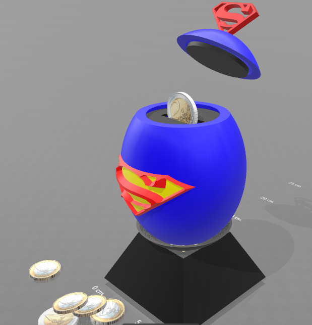 "1.png Download free STL file ""Superman egg"" piggy bank • 3D print template, psl"