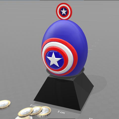 "3.png Download free STL file ""Egg captain america"" piggy bank • 3D print design, psl"