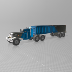 Free 3D model American truck with trailer, psl