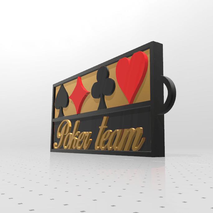 porte clé poker a.png Download free STL file Poker team key ring • 3D printable template, psl