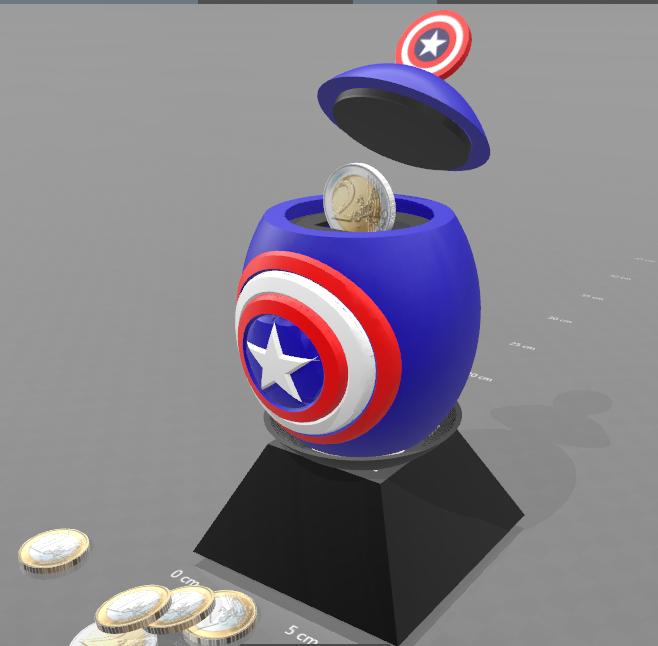 "1.png Download free STL file ""Egg captain america"" piggy bank • 3D print design, psl"