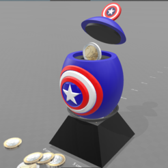 "Free STL file ""Egg captain america"" piggy bank, psl"