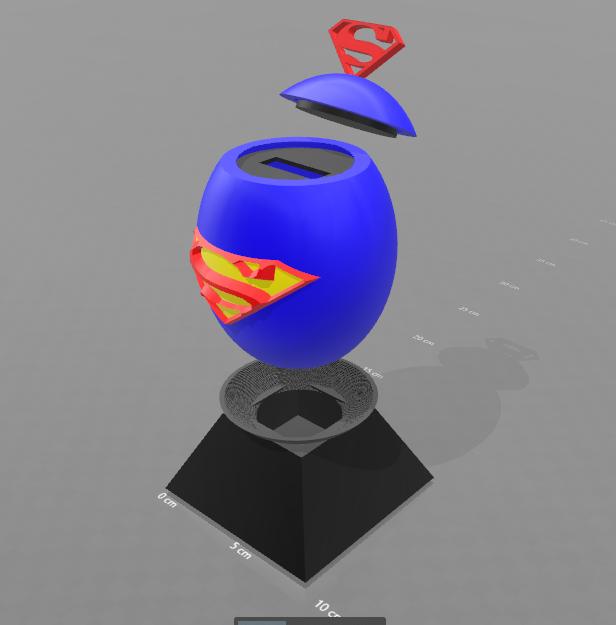 """2.png Télécharger fichier STL gratuit Tirelire """"oeuf superman"""" • Objet imprimable en 3D, psl"""