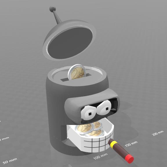 """7.png Download free STL file piggy bank """"Bender"""" • 3D print model, psl"""