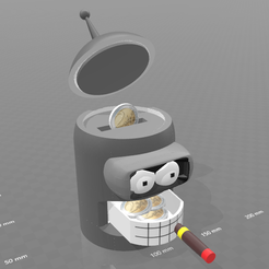 "Download free STL file piggy bank ""Bender"" • 3D print model, psl"