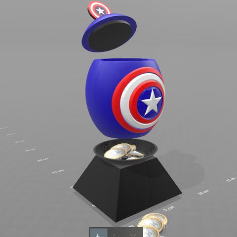 "2.png Download free STL file ""Egg captain america"" piggy bank • 3D print design, psl"