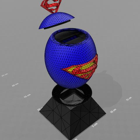 """3.png Télécharger fichier STL gratuit Tirelire """"oeuf superman"""" • Objet imprimable en 3D, psl"""