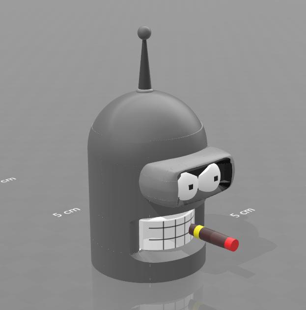 """1.png Download free STL file piggy bank """"Bender"""" • 3D print model, psl"""