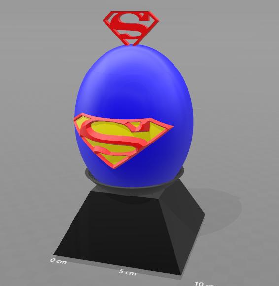 """1.png Télécharger fichier STL gratuit Tirelire """"oeuf superman"""" • Objet imprimable en 3D, psl"""