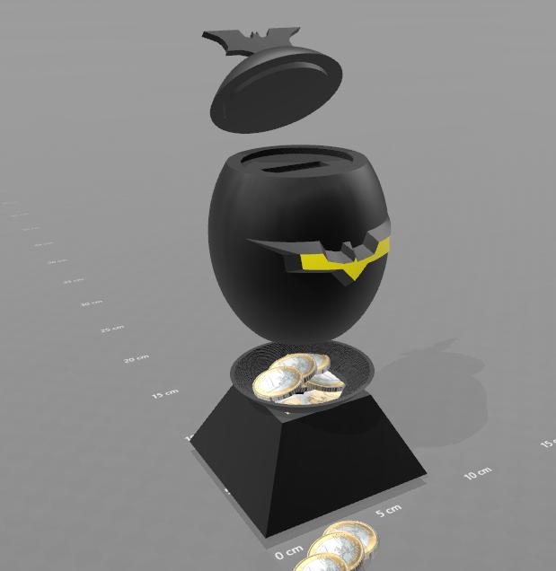 "2.png Download free STL file ""Batman egg"" piggy bank • 3D printing model, psl"