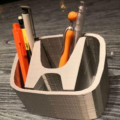 hondaPenHolder.jpg Download free STL file Honda Logo pen holder Pencil box Honda • 3D printer design, Martymcflay
