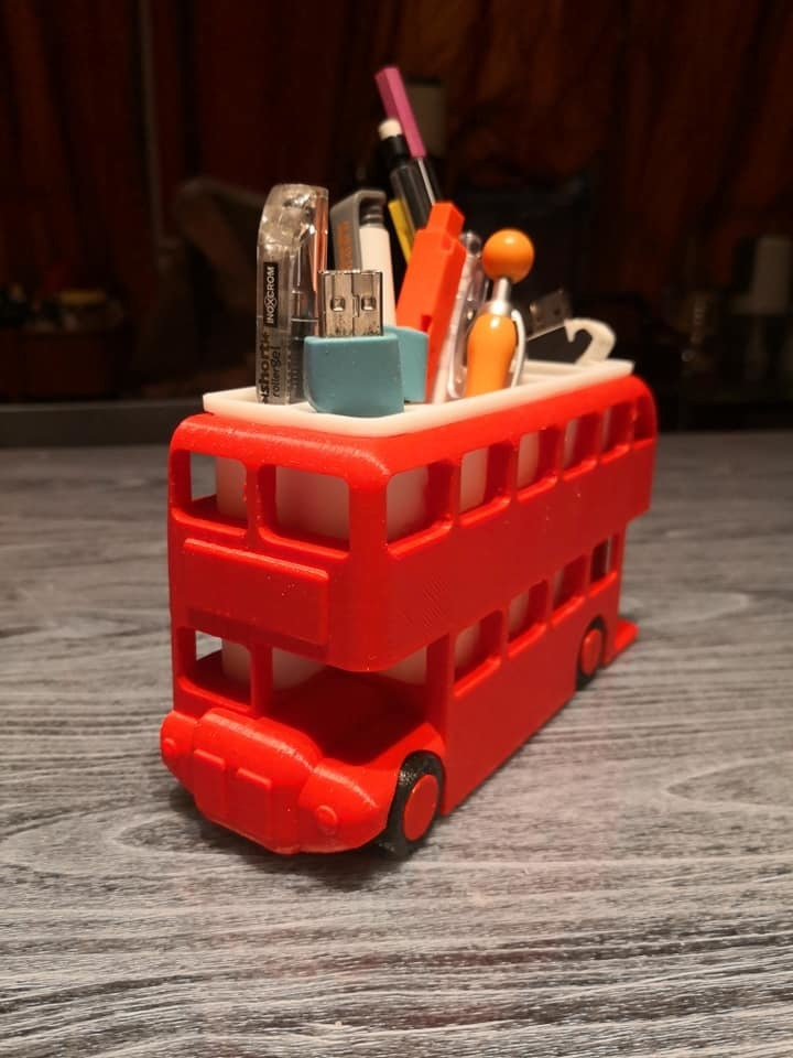 busfront.jpg Download free STL file London Bus Doubledeck Routemaster desk organizer (Boite à crayon bus anglais) • 3D printing object, Martymcflay
