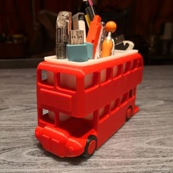 Download free STL London Bus Doubledeck Routemaster desk organizer (Boite à crayon bus anglais), Martymcflay