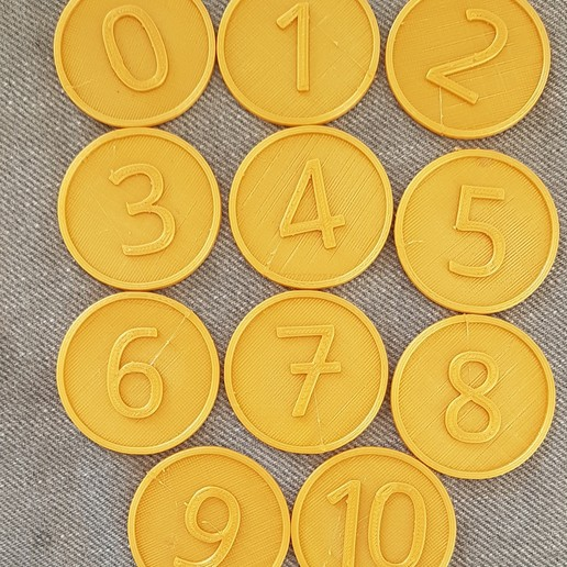 Download free 3D printing designs Number tokens 0 to 10, virgulle