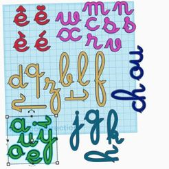 """Cursives.2 planche tinkercad.JPG Download free STL file New cursive letters that """"attach"""" • 3D printer object, virgulle"""