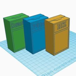 Boite de féculents.JPG Download free STL file Dinette, merchant: tins of pasta, rice and semolina • 3D print object, virgulle