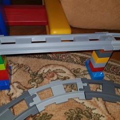 Download free 3D model LEGO Duplo train track: straight (double size for bridges), kpawel